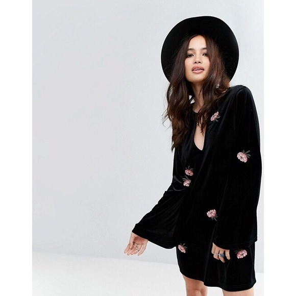 ASOS Dresses & Skirts - Long Sleeve Swing Dress Floral Embroidered Velvet